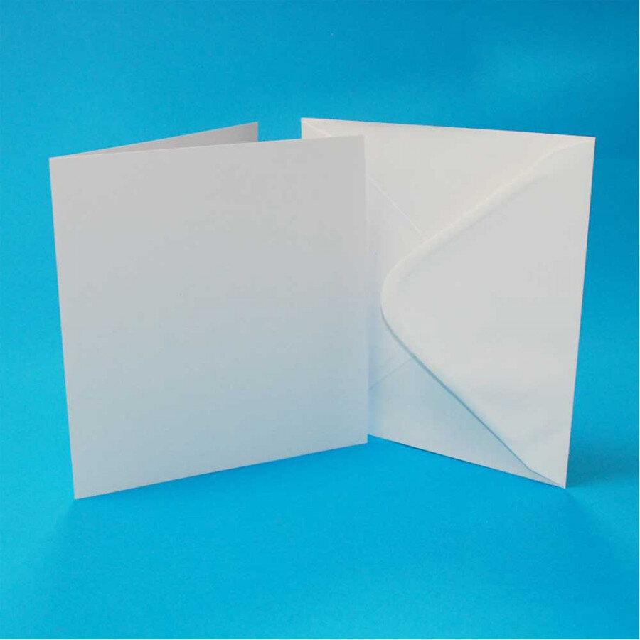 """Pack of 3 3""""x3"""" Blank Cards & Envelopes - White"""