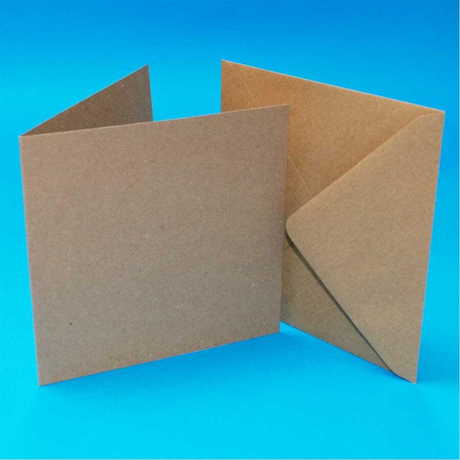 """Pack of 3 3""""x3"""" Blank Cards & Envelopes - Kraft"""